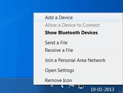 Select Add a Device from the bluetooth menu