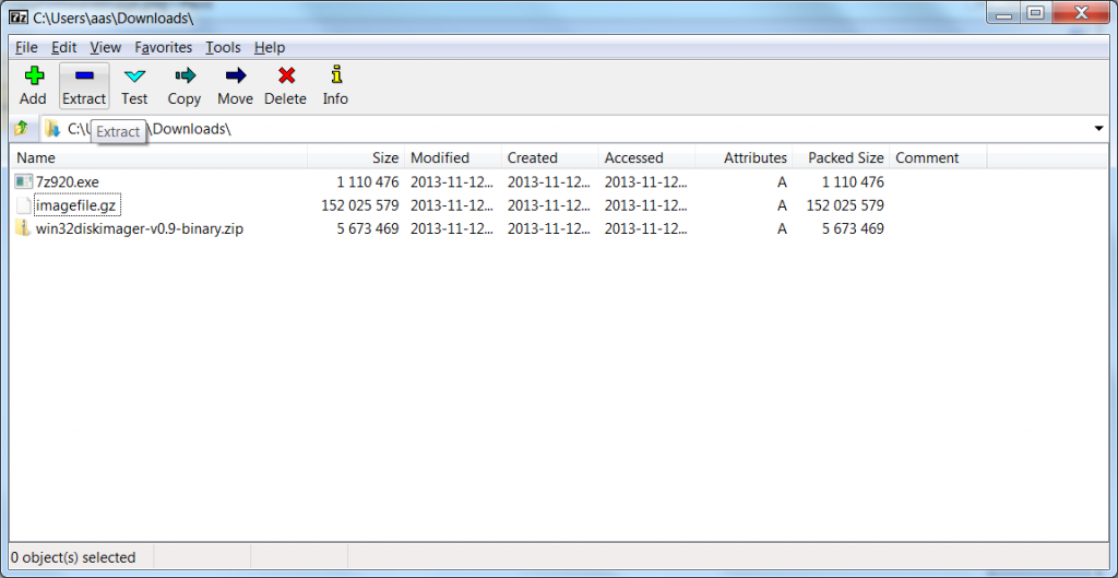 Use 7-Zip to unpack downloaded Image