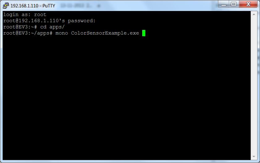 Login and start the color sensor example