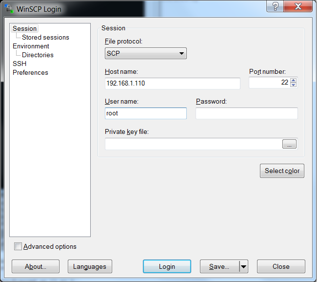 Create a SCP connection from WinSCP