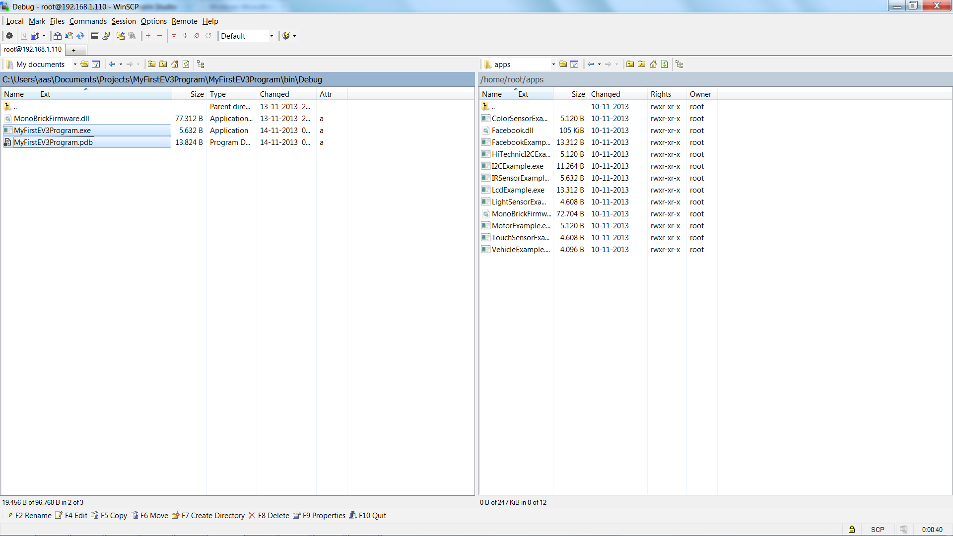 Copy the files you have compiled to the EV3