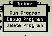Start the program in debug mode