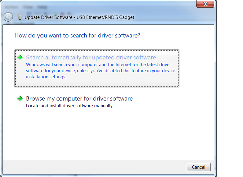 Seach for driver update
