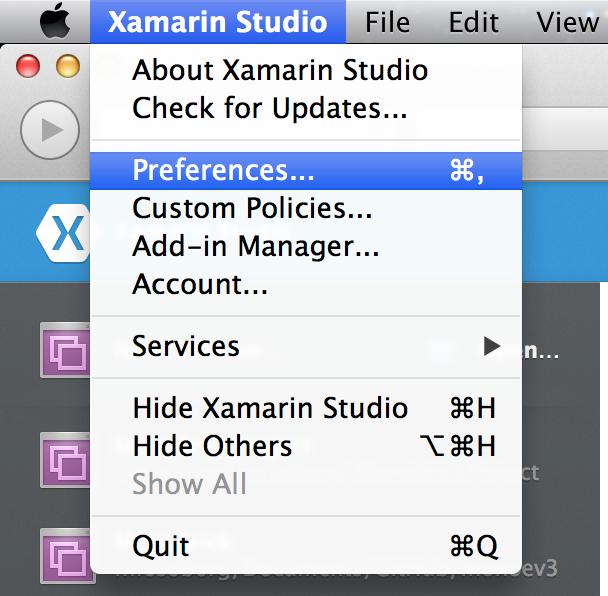 Preferences on Mac OS
