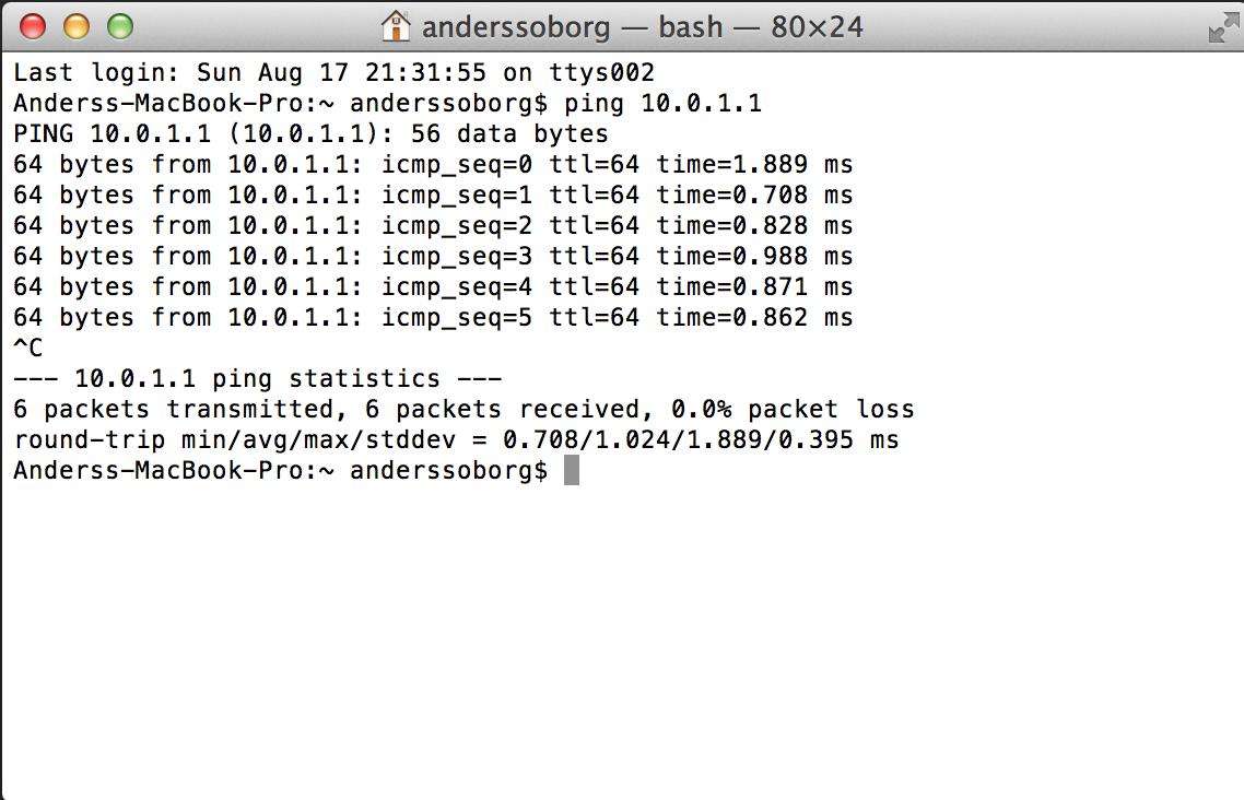 Ping 10.0.1.1
